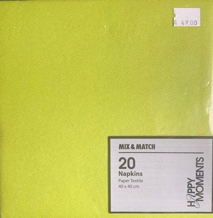 40 x 40 Mix max limegrøn tekstil serviet . 20 stk