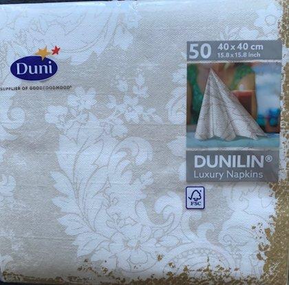 40 x 40 Dunilin luxery tekstil serviet, guldkant 50 stk