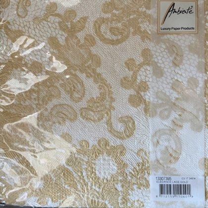 40 x 40 hvid, guld. Flot elegance serviet . 12 stk 30,00